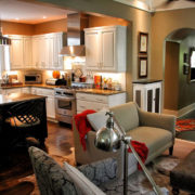× After: The Living Room Is Open To The Kitchen While Lowered Ceilings Create Definition Of The Different Spaces.