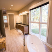 × Views From The Soaking Tub In The Master Bath Are Provided By The Marvin Clad Contemporary Windows.