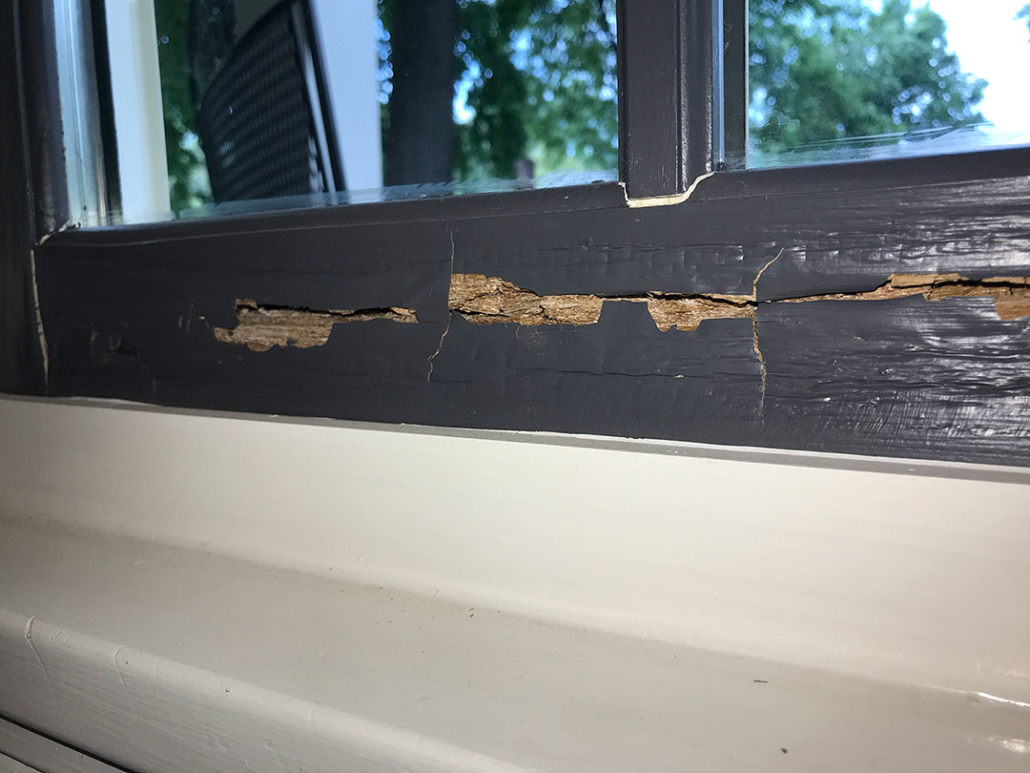 image showing wood rot on the sash of a window