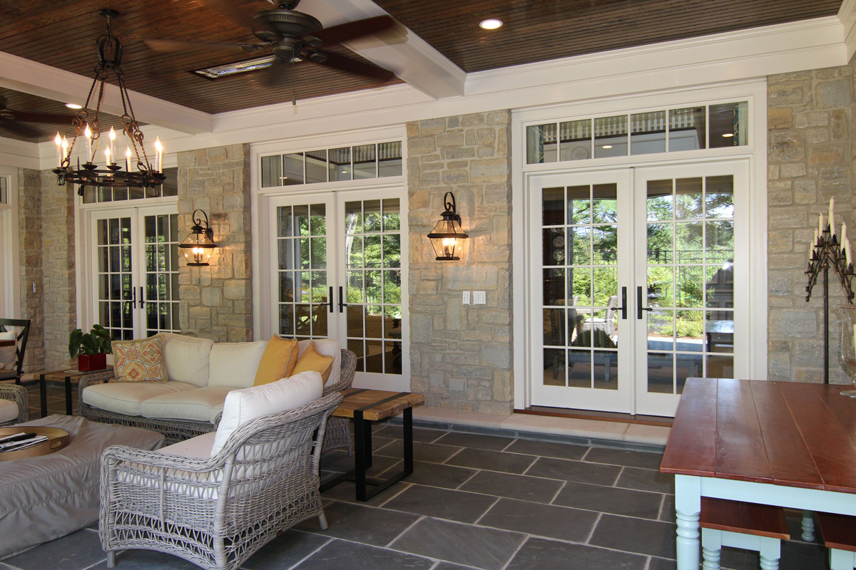 three side-by-side French doors, each with a with transom.