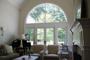 French patio doors with huge curved transom and large sidelites