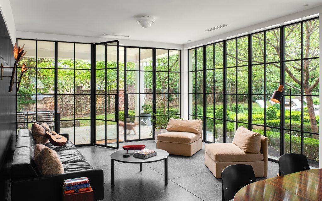 Arcadia custom french doors and wall to wall steel windows
